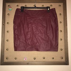 faux leather spandex type fitted mini skirt